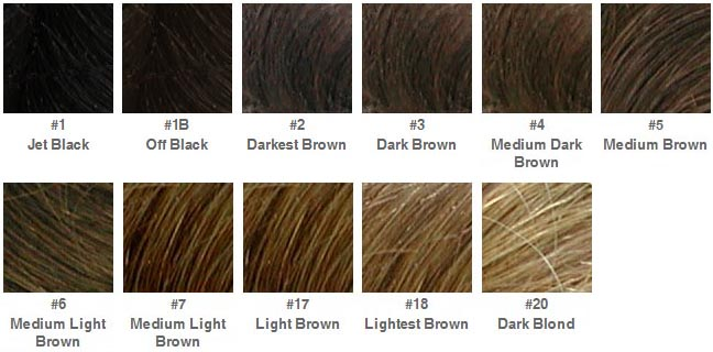 This color chart is only a reference of hair colors.